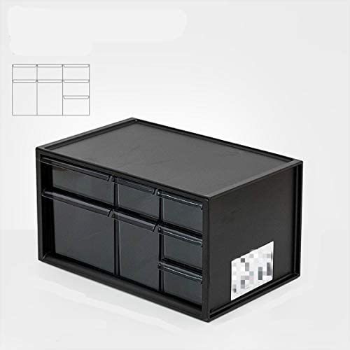 Studentenwohnheim Kosmetik Schreibtisch Schublade Multi-Layer (Empfangbox) 2 Schichten 7 Schubladen [schwarz]