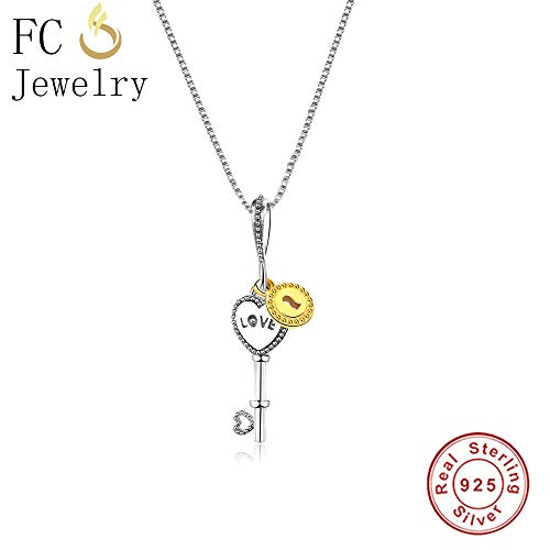 Sterlings Silver Heart Key to Gold Color Lock Pendants | Unisex Chain Statement Necklaces | Fashionable Lover - Initial Charm Trinket