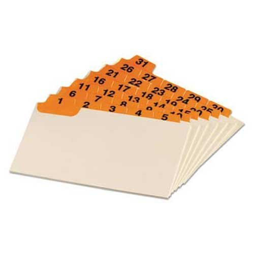 Oxford Laminated Index Card Guides, Daily, 1/5 Tab, Manila, 3 x 5, (Laminated Manila Index Card Guides)