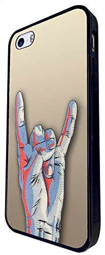 507 - Love Peace Rock And Roll Hand Design iphone SE - 2016 Coque Fashion Trend Case Coque Protection Cover plastique et métal - Noir