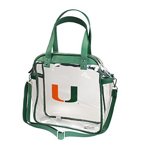 University of Miami Hurricanes Capri Designs Clearly Fashion Licensed Clear Carryall Tote Meets Stadium Requirements by CLEARLY FASHION