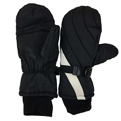 Black White Ski Snow Mittens Thinsulate Large/X-Large
