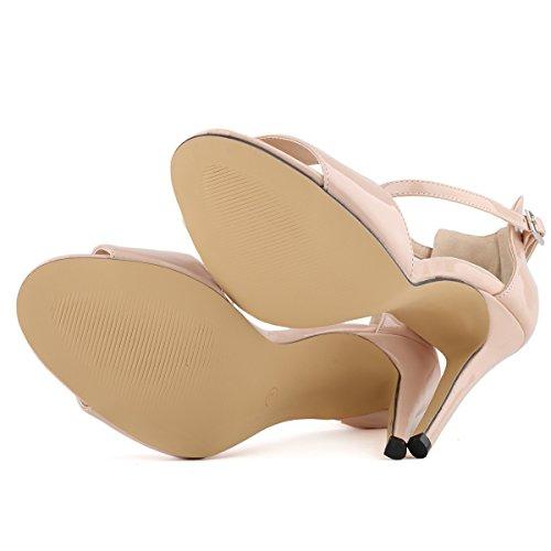 Peep Dress Balletto Donna Strap Elegance Da Sandali Hooh Beige Toe UWBRnv