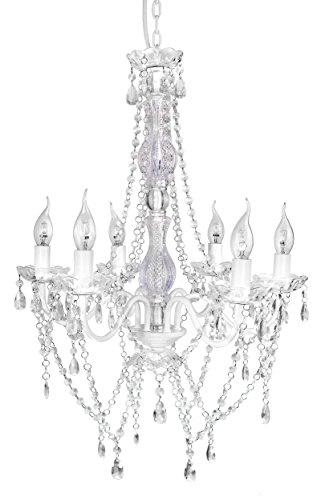 A2S Gypsy Crystal Chandelier – White 6-Arm Chandelier -H21″ W20″ – Acrylic Crystals & Solid Iron Design – Boho Chic Style (White 6 Arm)