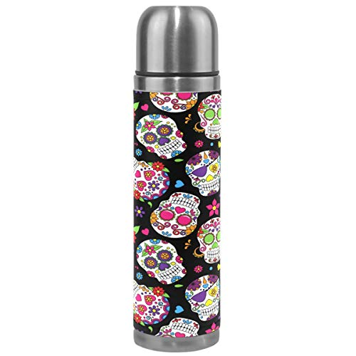Wamika Sugar Skull Vacuum Insulated Stainless Steel Water Bottle, Halloween Rose Skulls Sports Coffee Travel Mug Thermos Cup Genuine Leather Cover Double Walled BPA Free 17 Oz