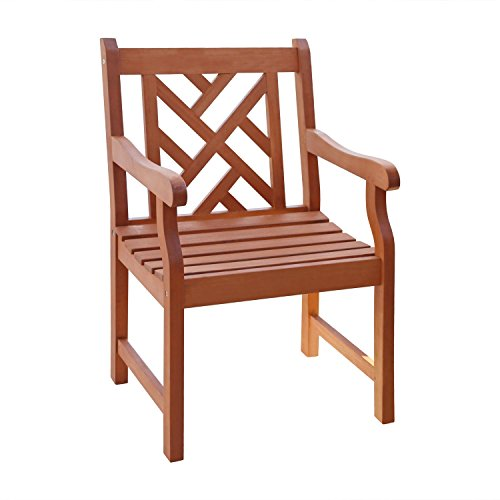 VIFAH V187 Outdoor Wood Arm Chair, Natural Wood Finish, 23 by 23 by 37-Inch (Chair Arms With Wooden)