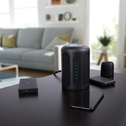 AUKEY Power Strip Surge Protector 6 USB Ports and 12 AC Outlets with 5Foot Heavy Duty Extension Cord