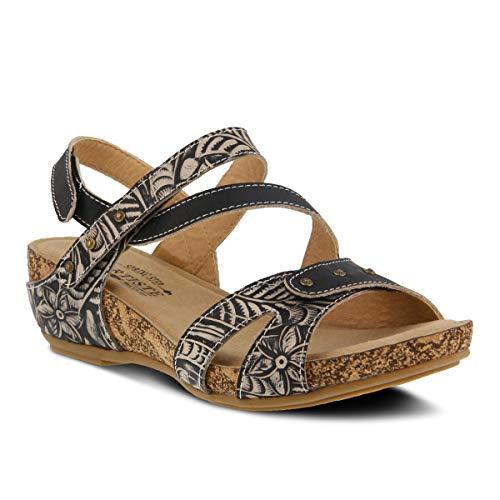 (L'ARTISTE Women's Quilana Leather Ankle Strap Sandal Black)