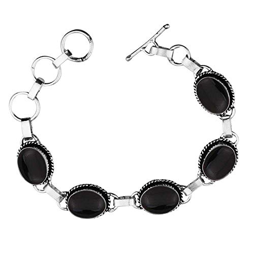 Genuine Oval Shape Black Onyx Link Five Stone Bracelet 925 Silver Plated Handmade Oxidized Finish Vintage Bohemian Style Jewelry for Women Girls