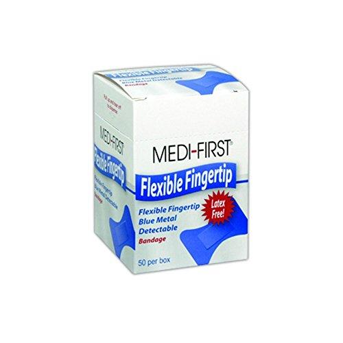 """Medique MP66050 Medi-First Blue Metal Detectable Fingertip Bandages, 1.5"""" x 3"""", Flesh, Fingertip (Pack of 50)"""