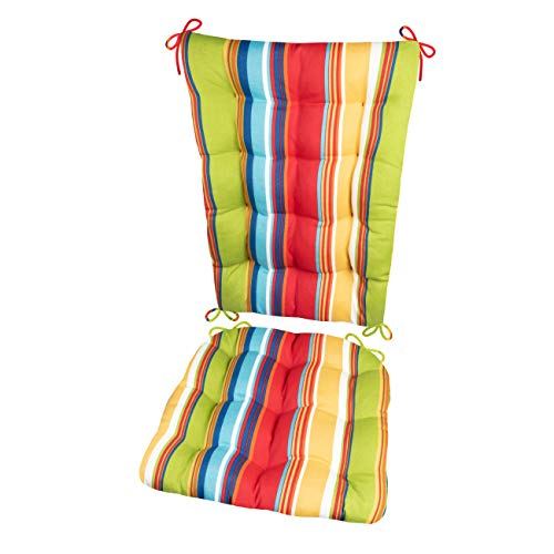 Porch Rocker Cushion Set - Westport Cabana Stripe Red - Size Standard - Indoor / Outdoor: Fade Resistant, Mildew Resistant - Latex Foam Filled Seat Pad and Back Rest - Reversible (Multi / Rainbow)