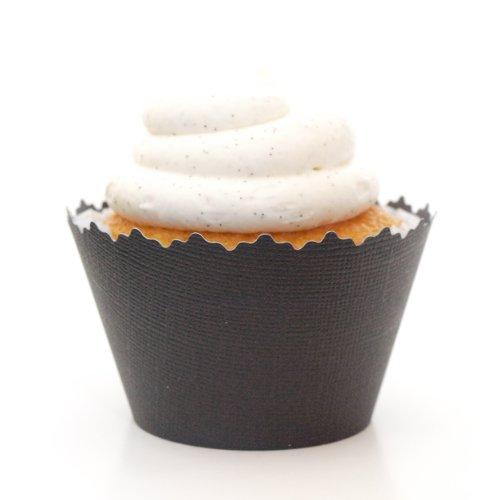 Matte Black Cupcake Wrappers - Solid Colors Adjustable - Set of 12