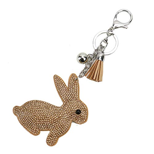 (JETEHO Cute Bunny Rabbit Crystal Rhinestone Leather Tassel Pendant Keychain Keyring for Handbag Wallet Backpack Accessories Women Girls (Khaki))