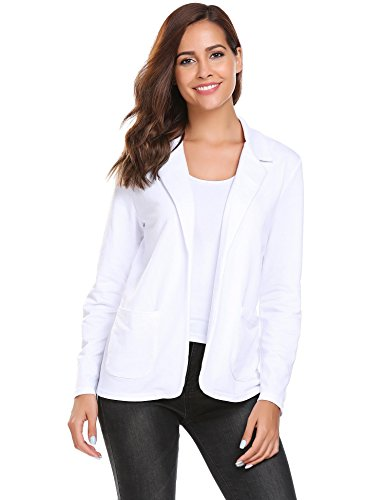 Zeagoo Women's Casual Work Solid Color Knit Blazer Long Sleeve Office Jacket Pure, Pure White, ()