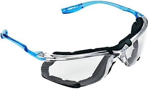 3M Safety Glasses, Virtua CCS, ANSI Z87, Anti-Fog, Clear Lens, Blue Frame, Corded Ear Plug Control System, Removable Foam Gasket