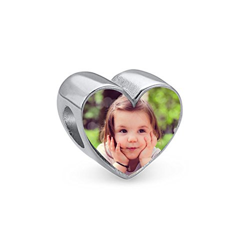 Silver Personalized Add Your Own Photo Custom Charm Compatible For Bracelet (Heart shape) (Custom Boxing Photo Charm)