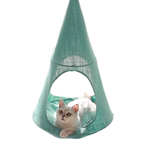 Cat Hammock Bed Tent Comfortable Hanging Perch Pet Hammock Bed Cradle for Cats/Small Dogs/Rabbits/Other Small Animals (Blue)