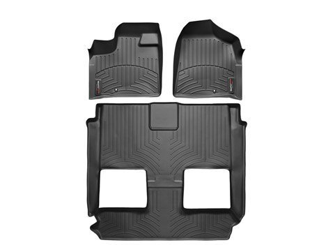 2011-2015 Chrysler Town & Country-Weathertech Floor Liners-Full Set (Includes 1st and 2nd Row)-Fits Models with 1 Retention Hook on the Driver Side Floor; Fits Vehicles with 2nd Row Bucket Seating. With Stow'n Go-Black (Weather Seating)