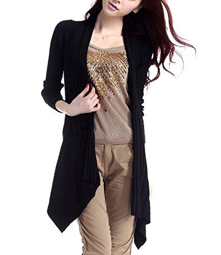 Brinny Frauen Unregelmäßige Casual Pullover Langarm-Cardigan Lässige Strickmantel Strick Loose Strickjacke Outwear 4 Farbe: Rot/Grau/Violett/Schwarz