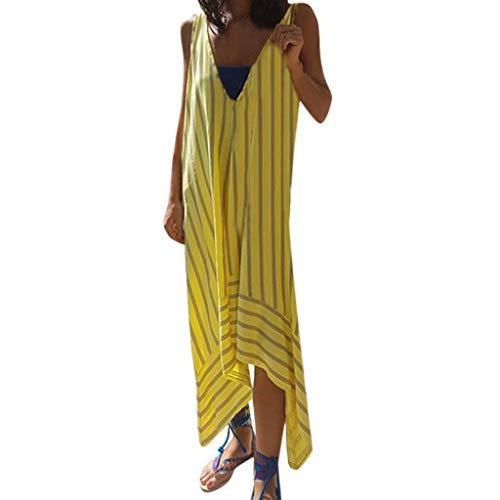 BODOAO Women Long Irregular Dress Casual V-Neck Sleeveless Striped Printed Patchwork Sling Dress ()