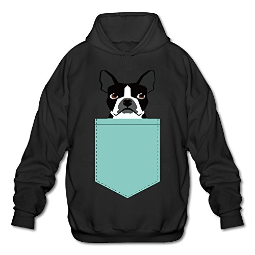 Price comparison product image Boston Terrier And French Bulldog Men's Fleece Hoodie Adult Sweater Black XL