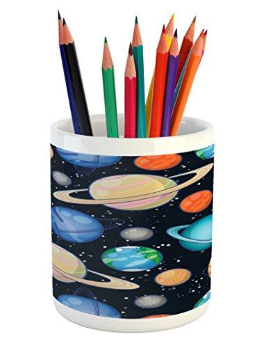 Ambesonne Galaxy Pencil Pen Holder, Cute Galaxy Space Art Solar System Planets Mars Mercury Uranus Jupiter Venus Kids Print, Printed Ceramic Pencil Pen Holder for Desk Office Accessory, Multi by Ambesonne