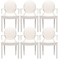2xhome – Set of 6 Modern Ghost Chair Armchair with Arm Polycarbonate Plastic (White)