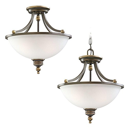 Sea Gull Lighting 77350-708 Laurel Leaf Two-Light Semi-Flush Convertible Pendant with Etched Ripple Glass Shade, Estate Bronze Finish