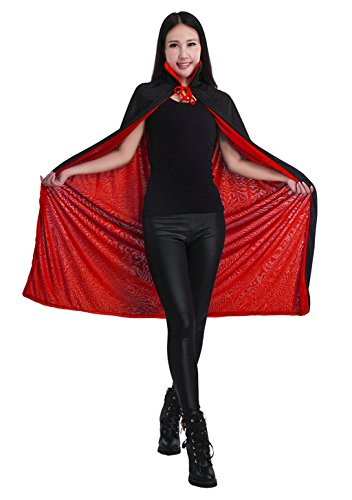 JIAHG Halloween Black and Red Reversible Hooded Robe CloakAdult Kids Full Length Witch Vampires Death Party Cape Costume