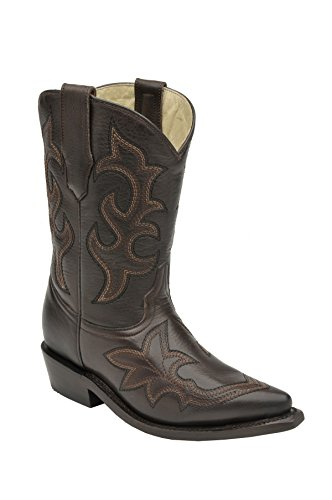 CORRAL Kids' Chocolate Embroidery Snip Toe Cowboy Boots G1172 (13 D(K) US) ()
