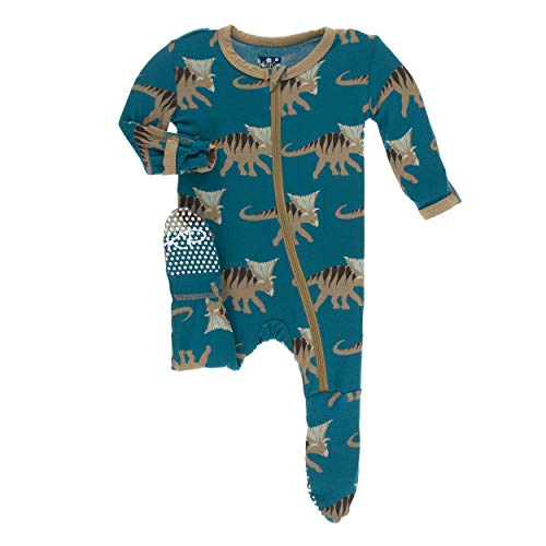 Kickee Pants Little Boys Print Footie with Zipper - Heritage Blue Kosmoceratops, 9-12 ()