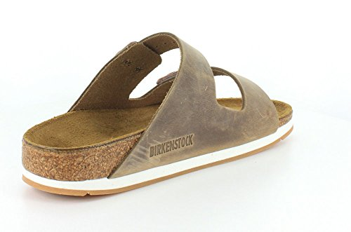 Birkenstock Unisex Arizona Sandalo Sportivo In Pelle Ingrassata Nera Con Olio In Cuoio