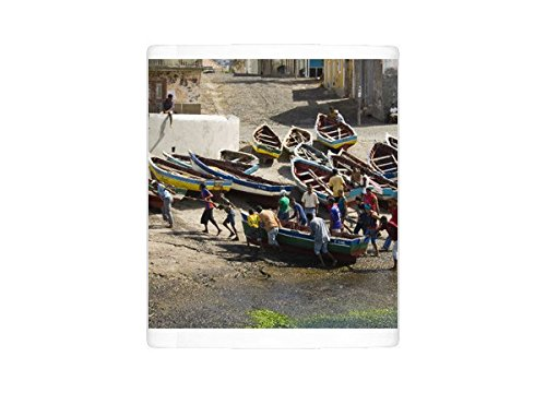 Santo Antao Cape (Photo Mug of Fishermen taking boat out of water at the port of Ponto do Sol, Ribiera Grande)