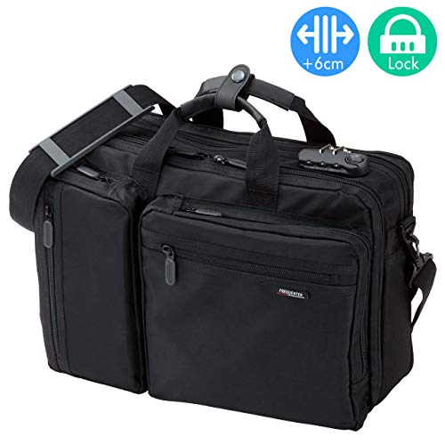 SANWA 【Japan Brand 15.6 inch Laptop Bag- Business Briefcase Shoulder Messenger Bag with Combination Lock, Expandable, Large Capacity, Handbag Travel Backpack, for MacBook Dell Hp, Men Women, Black