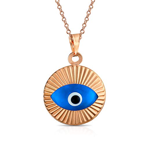 (Turkish Protection Round Moving Blue Evil Eye Pendant Charm Necklace For Women Rose Gold Plated 925 Sterling Silver )