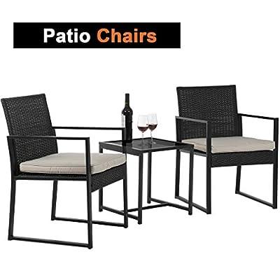 3 Piece Rocking Chair Bistro Set Patio Furniture Set Outdoor Rattan Chairs Wicker Conversation Set for Backyard Porch Poolside Lawn,Black