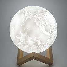 Moon Lamp 3D Print Moon Light[Diam 5.9 inch(0.62 lbs),1 LED Lamp Bead,3 Colors Switching].Luna Moonlight Lamp - Warm and Cool Lighting,Rechargeable Home Decorative Night Light with Wood Stand