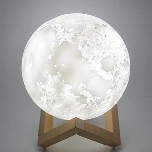Moon Lamp 3D Print Moon Light[Diam 5.9 inch(0.62 lbs),1 LED Lamp Bead,3 Colors Switching].Luna Moonlight Lamp - Warm and Cool Lighting,Rechargeable Home Decorative Night Light with Wood (Magical Light)