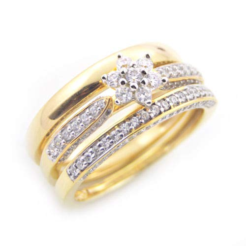 (Diamond Scotch 14K Yellow Gold Over CZ His and Her Cluster Flower Engagement Wedding Ring Bridal Trio Set)