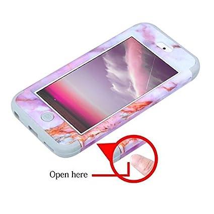 Dailylux Custodia iPod Touch 6//5,Custodia Ibrida a Protezione Integrale con Parte Esterna in 3 Strati di Morbido PC TPU e Interno Rigido Cover,Rosso+Nero Nera