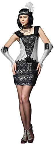 [HGM Costume Women's Roaring 20's Flapper, Black/Silver, X-Large] (Hgm Costume)
