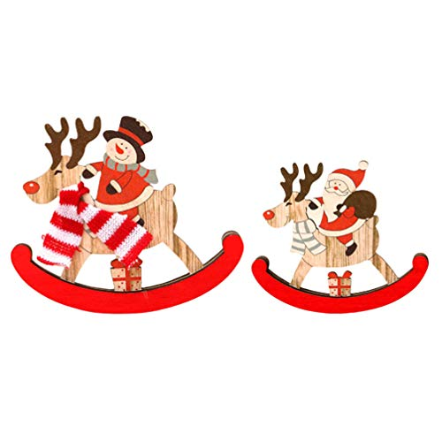 Amosfun 2pcs Wooden Christmas Rocking Horse Ornament Santa Snowman Horse Figurine Balance Art Home Decoration (Rocking Home Horse Accents)