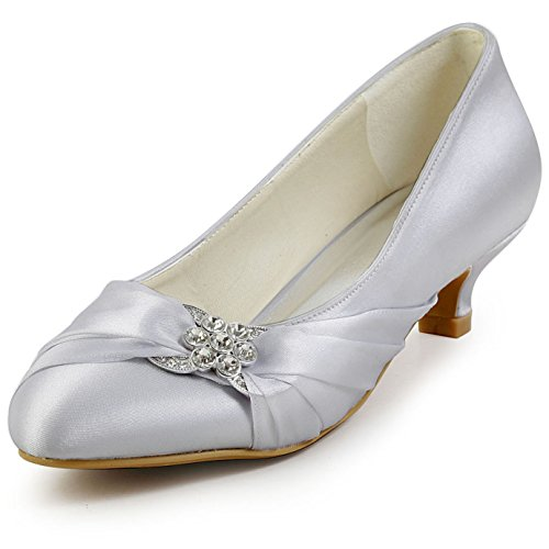 ElegantPark EP2006L Women Comfort Low Heel Closed Toe Rhinestone Satin Bridal Wedding Shoes Silver US 7.5 (Elegant Silver Satin)