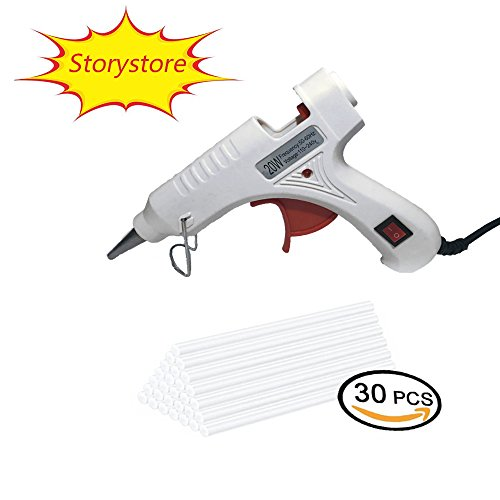 Upgraded version Mini Hot Melt Glue Gun with 30pcs Glue Sticks with Removable Anti-hot cover Glue Gun Kit Flexible Trigger for DIY Small Craft Projects&Sealing and Quick Repairs 20-watt (WHITE)