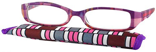 00b3e2fb6c Amazon.com  Color Me Plaid Single Vision Half Frame Designer Reading Glasses