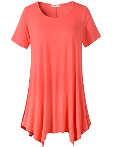 LARACE Womens Swing Tunic Tops Loose Fit Comfy Flattering T Shirt (M, Watermelon)