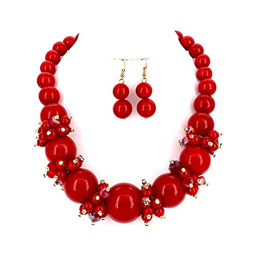 Comelyjewel Fashion Jewelry Lady Simulated Pearl Beaded Collar Women Necklace and Earrings Set (Metallic - Necklace Flowers Beaded