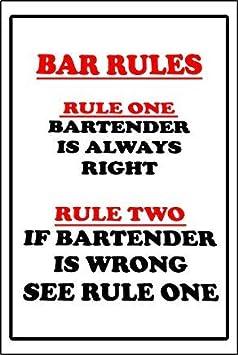 Bar Rules Barkeeper Always Right Schild Funny Bar Games Room Geburtstag Weihnachtsgeschenk Warnung Aufkleber Etiketten Selbstklebendes Vinyl 30 X 20 Cm Bürobedarf Schreibwaren