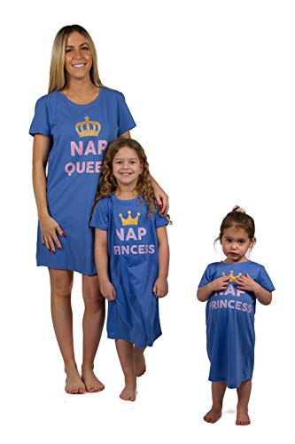 Peace Love & Dreams Mommy & Me Matching Pajamas Short Sleeve Nightgowns Outfits - Blue (Mom, Medium) -