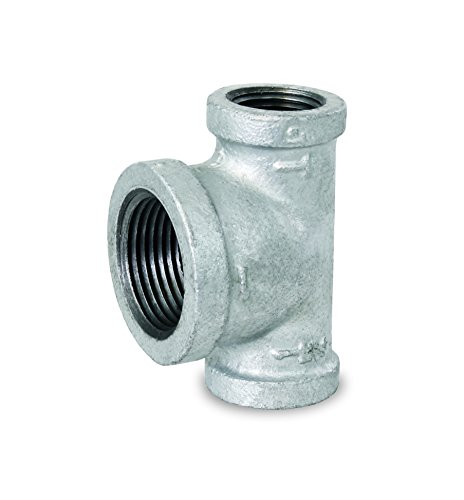 "Everflow Supplies GMBT0340 Bull Head Galvanized Malleable Tee Fitting with Female Thread Connections, 3/4"" x 3/4"" x 1"""